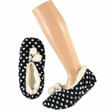 Donkerblauwe ballerina dames pantoffels/sloffen met stippenprint maat