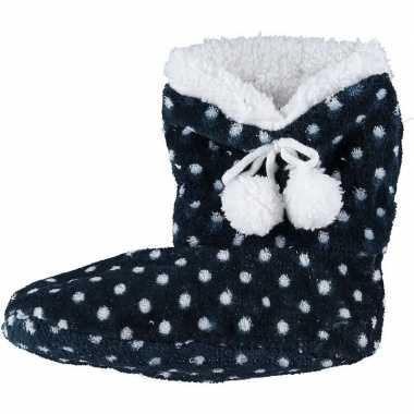 Donkerblauwe hoge sloffen/pantoffels stippen voor meisjes maat 34-36