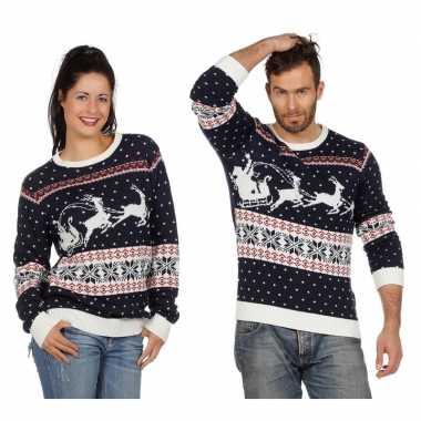 Donkerblauwe kerst sweater met rendieren voor volwassenen