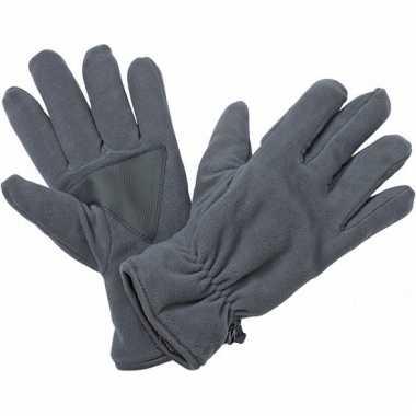 Donkergrijze fleece handschoenen van het merk thinsulate