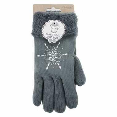 Donkergrijze winterhandschoenen ster diamant voor dames