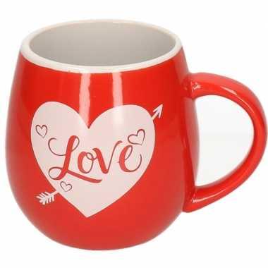 Drink beker rood met wit hart love