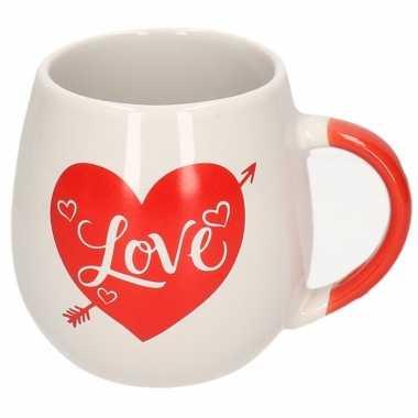Drink beker wit met rood hart love