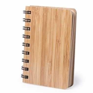 Duurzaam bamboe notitieboekje met 80 bladzijden van gerecycled papier