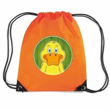 Eend dieren trekkoord rugzak / gymtas oranje voor kinderen