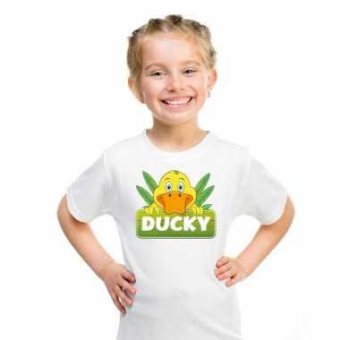 Eenden dieren t-shirt wit voor kinderen