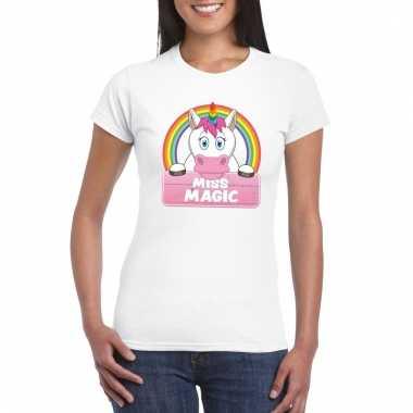 Eenhoorn dieren t-shirt wit voor dames