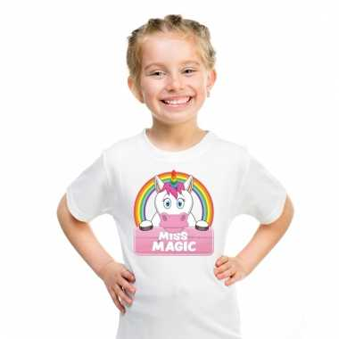 Eenhoorn dieren t-shirt wit voor meisjes