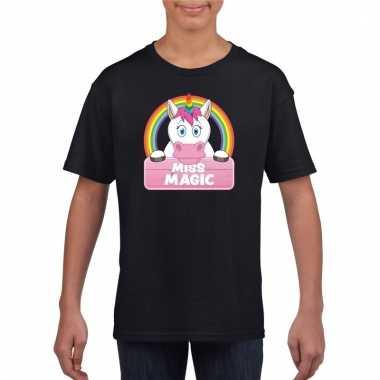 Eenhoorn dieren t-shirt zwart voor meisjes