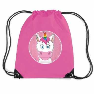 Eenhoorn dieren trekkoord rugzak / gymtas roze voor kinderen