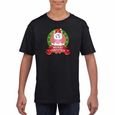 Eenhoorn kerstmis shirt zwart voor kinderen
