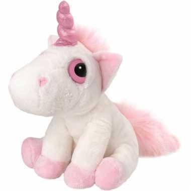 Eenhoorn kuffel 30 cm roze/wit