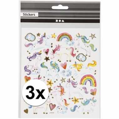 Eenhoorn stickers 3 vellen