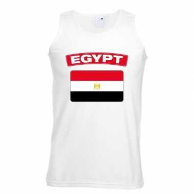 Egypte vlag mouwloos shirt wit heren