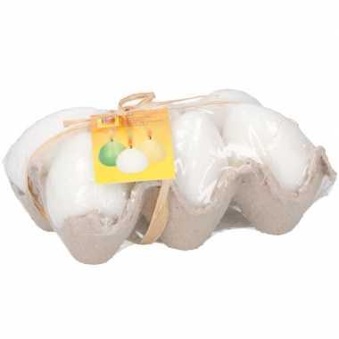 Eierdoosje met witte kaarsjes 6 stuks