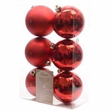 Elegant christmas kerstboom decoratie kerstballen rood 6 stuks