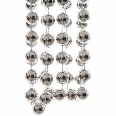 Elegant christmas kerstboom decoratie kralenslinger xxl zilver 270 cm
