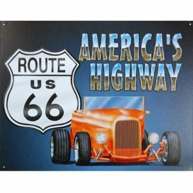 Emaille plaat van route 66 us met americas's highway