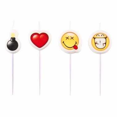 Emoji taartkaarsjes 4 stuks