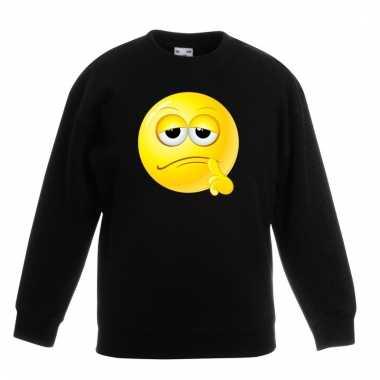 Emoticon bedenkelijk sweater zwart kinderen