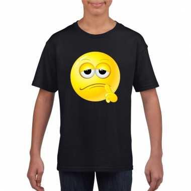 Emoticon bedenkelijk t-shirt zwart kinderen