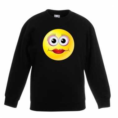 Emoticon diva sweater zwart kinderen
