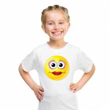 Emoticon diva t-shirt wit kinderen