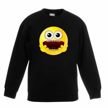 Emoticon geschrokken sweater zwart kinderen