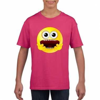 Emoticon geschrokken t-shirt fuchsia/roze kinderen