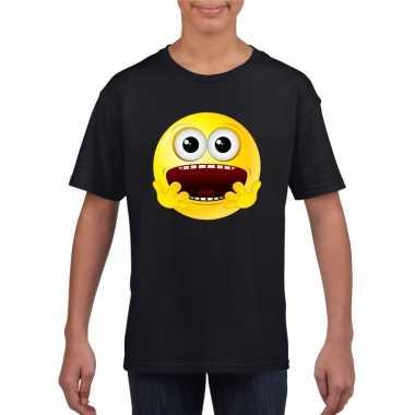 Emoticon geschrokken t-shirt zwart kinderen