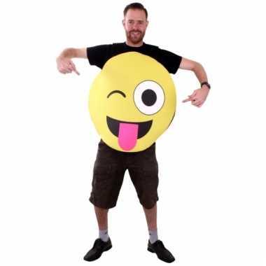 Emoticon instap kostuum knipoog voor volwassenen