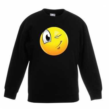 Emoticon knipoog sweater zwart kinderen