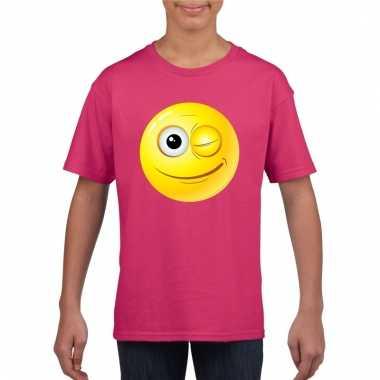 Emoticon knipoog t-shirt fuchsia/roze kinderen