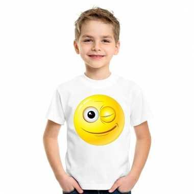 Emoticon knipoog t-shirt wit kinderen