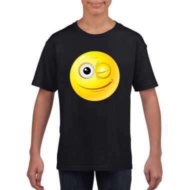 Emoticon knipoog t-shirt zwart kinderen