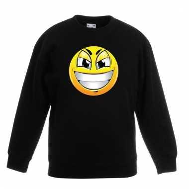 Emoticon ondeugend sweater zwart kinderen