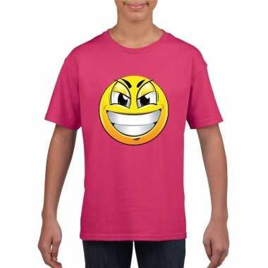 Emoticon ondeugend t-shirt fuchsia/roze kinderen