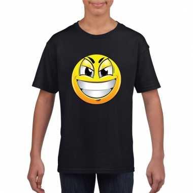 Emoticon ondeugend t-shirt zwart kinderen