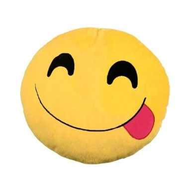 Emoticon smileys kussentje tong 30 cm