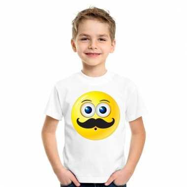 Emoticon snor t-shirt wit kinderen