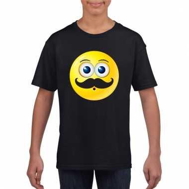 Emoticon snor t-shirt zwart kinderen