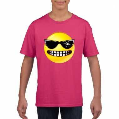 Emoticon stoer t-shirt fuchsia/roze kinderen