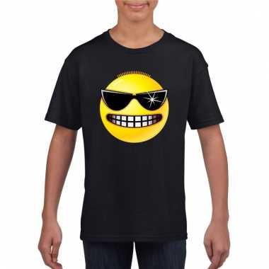 Emoticon stoer t-shirt zwart kinderen