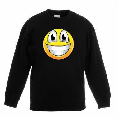 Emoticon super vrolijk sweater zwart kinderen
