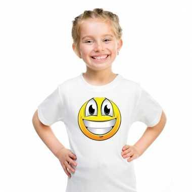 Emoticon super vrolijk t-shirt wit kinderen