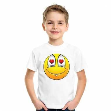 Emoticon verliefd t-shirt wit kinderen