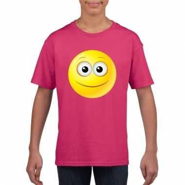 Emoticon vrolijk t-shirt fuchsia/roze kinderen
