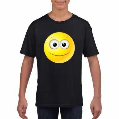 Emoticon vrolijk t-shirt zwart kinderen
