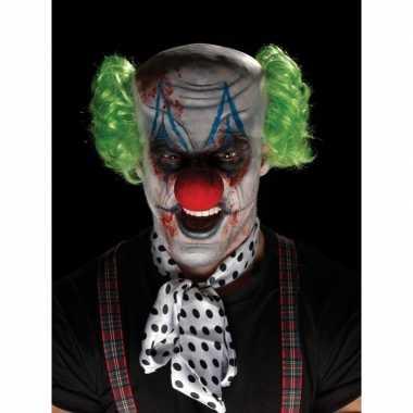 Enge clown verkleedset met schmink en pruik