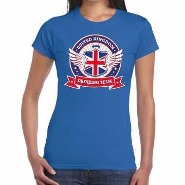 Engeland drinking team t-shirt blauw dames